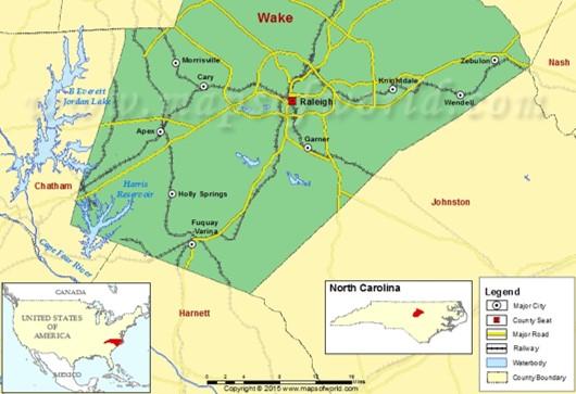 Map of Wake, Harnett, and Johnston Counties
