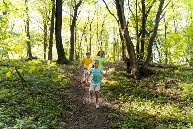 Kids on the trail